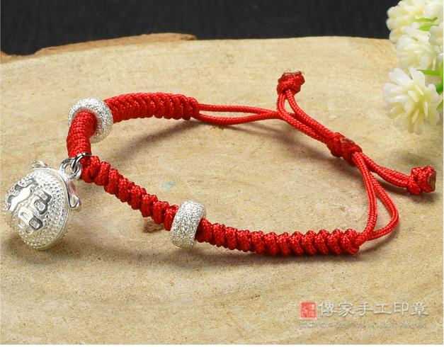 銀飾富貴福袋紅繩手鍊照